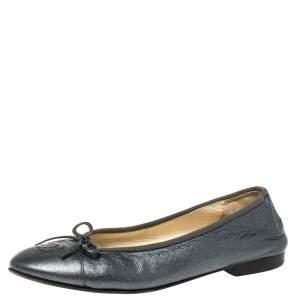 Chanel Metallic Grey Leather Bow Ballet Flats Size 38