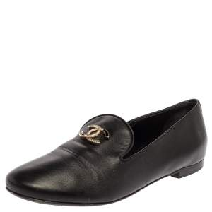 Chanel Black Leather CC Moccasin Loafers Size 38