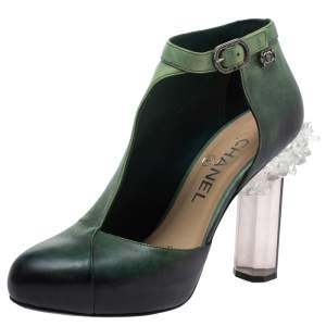 حذاء بوت كاحل شانيل دورسيه نصف كعب كريستال جلد أخضر أومبريه مقاس 36