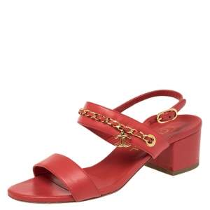 Chanel Red Leather Chain Link Open Toe Ankle Strap Sandals Size 37.5