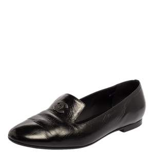 Chanel Black Leather CC Slip On Loafers Size 39.5