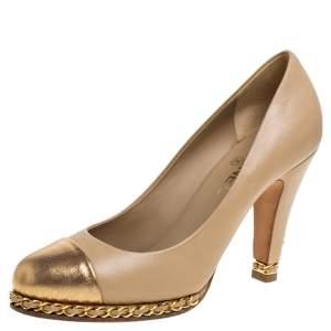 حذاء كعب عالي شانيل نعل سميك سلسلة غطاء مقدمة جلد ذهبي ميتالك / بيج مقاس 40