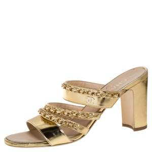Chanel Gold Leather Chain Link Sandals Size 38