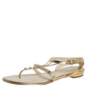 Chanel Gold Leather CC Camellia Thong Sandals Size 39.5