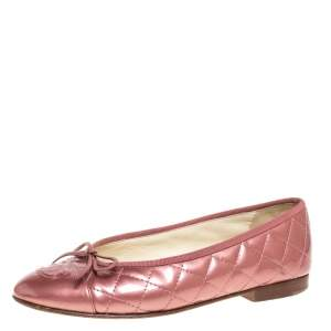 Chanel Pink Patent Quilted Leather CC Cap Toe Flats Size 37
