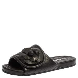 Chanel Black Leather Camellia Embellished Velcro Flat Slides Size 39