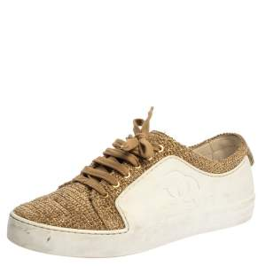 Chanel White/Gold Rubber And Tweed Fantasy Sneakers Size 39.5