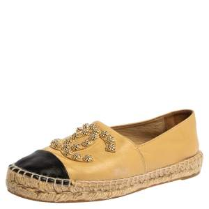 Chanel  Beige/Black Leather Camellia  Studded CC Espadrille Flats Size 37