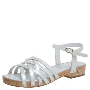 Chanel White Patent Leather Ankle Strap Strappy Cork Flat Sandals Size 40