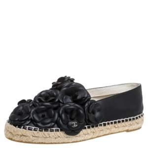 حذاء إسبادريل شانيل كامليا سي سي جلد أسود مقاس 37