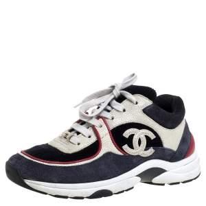 حذاء رياضي شانيل منخفض من أعلى شعار سي سي قماش وجلد سويدي متعدد الألوان مقاس 36