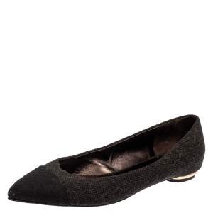 Chanel Black Tweed Fabric Cap Toe Ballet Flats Size 40