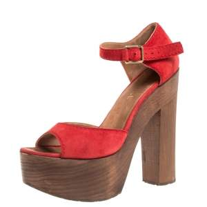 Chanel Red Suede and Wood Platform Sandals Size 38