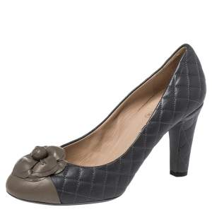Chanel Grey Leather Camellia CC Cap Toe Pumps Size 38.5