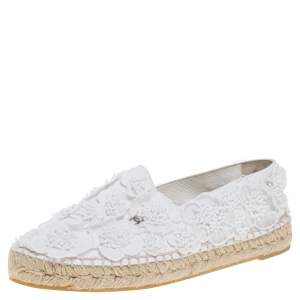 Chanel White Lace and Canvas CC Camellia Espadrille Flats Size 37