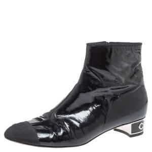 Chanel Black Patent Leather CC Cap Toe Zipper Ankle Boots Size 39