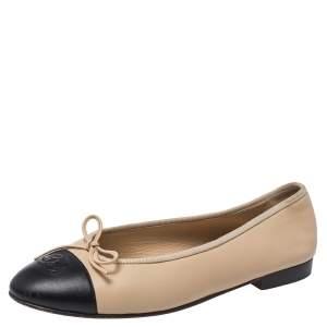 Chanel Beige/Black Leather CC Cap Toe Bow Flats Size 39.5