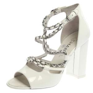 Chanel White Patent Leather Chain Embellished Ankle Strap Block Heel Sandals Size 38
