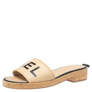 Chanel Beige Leather Logo Cork Slides Size 41