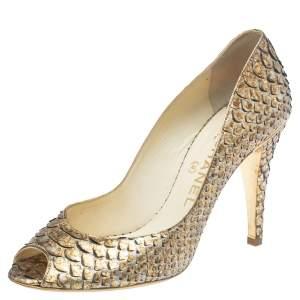 Chanel Metallic Gold/Beige Python Leather Peep Toe Pumps Size 39