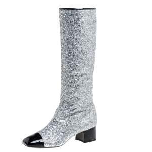 Chanel Silver Glitter Fantasy Knee Boots Size 41C