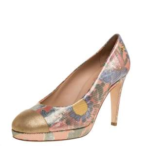 Chanel Multicolor Lurex Crepe Fabric and Leather Cap Toe Paris Dubai Platform Pumps Size 39