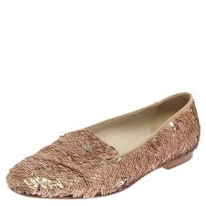 Chanel Rose Gold Sequin CC Smoking Slipper Loafers Size 37