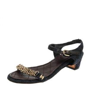 Chanel Blue/Black Cotton Knit and Lace Cain Embellished Sandals Size 35.5