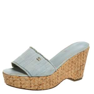 Chanel Blue Denim Open Toe Raffia Wedge Slide Sandals Size 38.5