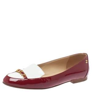 Chanel Red/White Patent Leather Chain-link Loafers Size 38.5