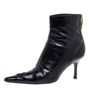 Chanel Black Leather CC Pointed Toe Ankle Boots