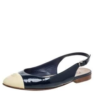 Chanel Blue/Cream Patent Leather CC Cap Toe Slingback Flats Size 38