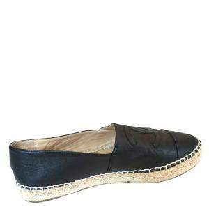 Chanel Black Lambskin Leather Espadrilles Size 38