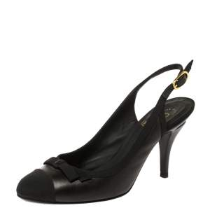 Chanel Black Leather and Fabric Cap Toe Slingback Sandals Size 36.5