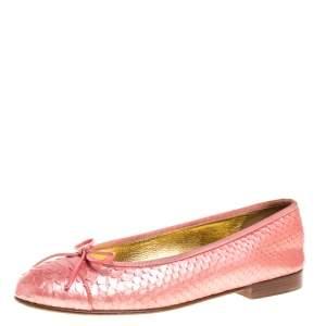Chanel Peach Python CC Cap Toe Bow Flats Size 37