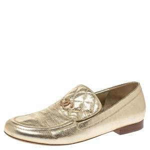 Chanel Metallic Gold Textured Leather CC Loafers Size 38