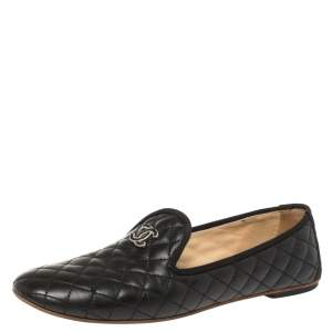 Chanel Black Quilted Leather CC Smoking Slippers Size 39