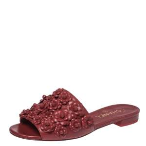 Chanel Red Leather CC Camellia Flat Slides Size 37.5