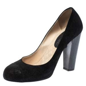 حذاء كعب عالي شانيل كريستال سي سي غطاء مقدمة سويدي أسود مقاس 41