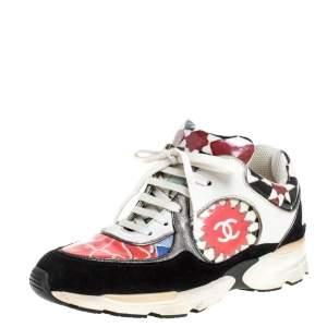 حذاء رياضي شانيل منخفض من أعلى سي سي جلد وبي في سي مطبوع متعدد الألوان مقاس 36.5