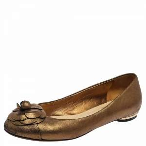 Chanel Gold Textured Leather Camellia Ballet Flats Size 38