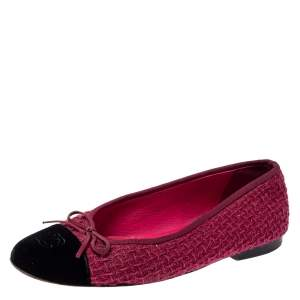 Chanel Fuchsia/Black Tweed and Velvet Bow CC Cap Toe Ballet Flats Size 38.5