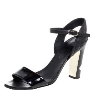 Chanel Black Patent Leather CC Pearl Embellished Heel Ankle Strap Sandals Size 38