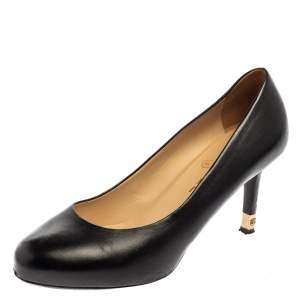 حذاء كعب عالى شانيل مقدمة مستديرة سى سى جلد أسود مقاس 38