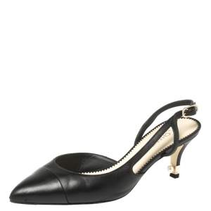 Chanel Black Leather Faux Pearl Embellished Heel Slingback Sandals Size 38