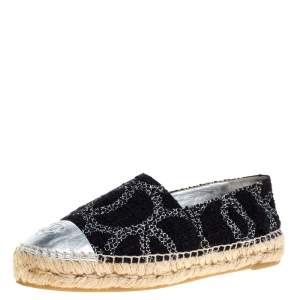Chanel Black/Silver Tweed And Leather CC Cap Toe Espadrille Flats Size 39