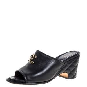 Chanel Black Leather Interlocking CC Mules Size 39.5