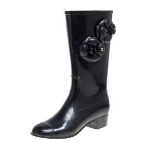 Chanel Black Rubber Camellia Rain Boots Size 38