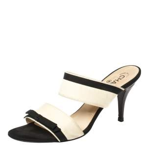 Chanel White/Black Leather and Fabric Heel Slide Sandals Size 40.5