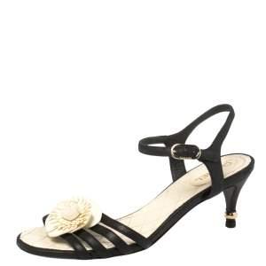 Chanel Black Leather Camellia Applique  Ankle Strap Sandals Size 36